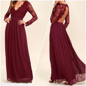 Awaken My Love Burgundy Long Sleeve Lace Maxi